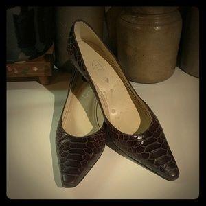 Talbots Brown Leather Snakeskin Heels
